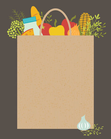 Illustration of paper grocery bag with place for your text.