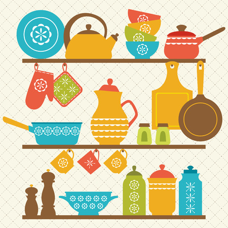 Retro kitchen shelves design. Vector