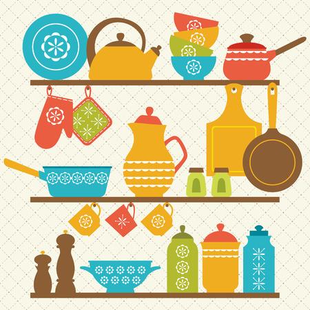 pot holder: Retro kitchen shelves design.