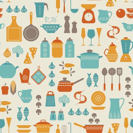 pot holder: Seamless kitchen pattern.
