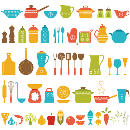 colander: Set of kitchen utensils and food for cooking.