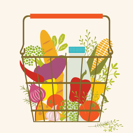 Shopping basket with health food.