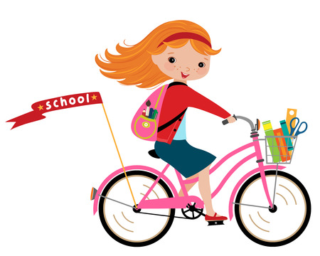 Happy girl going to school by cycle  Vectores