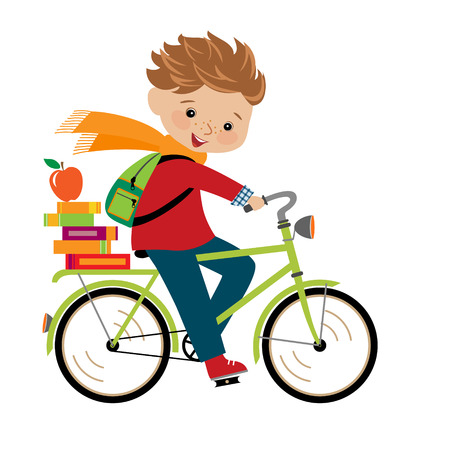 schoolchildren: Happy boy going to school by cycle  Illustration