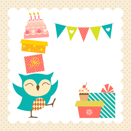 Birthday greeting card with place for your text. Vector