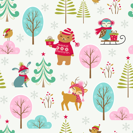 Cute Christmas pattern with forest animals. Illustration