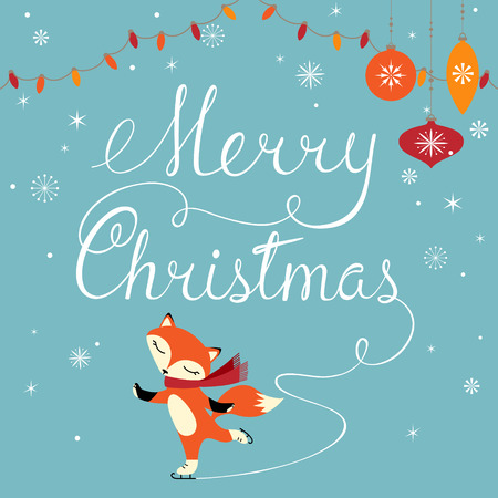 Christmas greeting card with cute fox. Vectores
