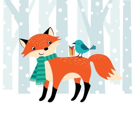 foxes: Cute Christmas illustration with place for your text. Illustration