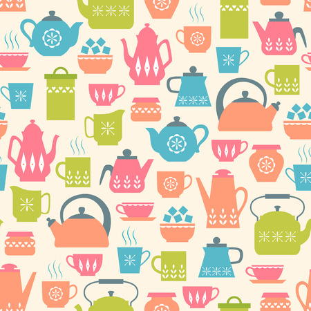 tea kettle: Seamless pattern with cute tea things.