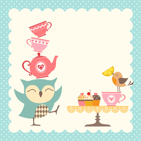 Funny owl giving a very good tea party. Çizim
