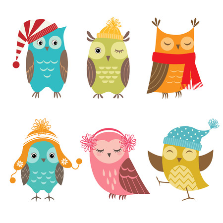 Set of funny owls for winter design. Vector