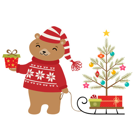 Cute bear with Christmas tree and gifts.