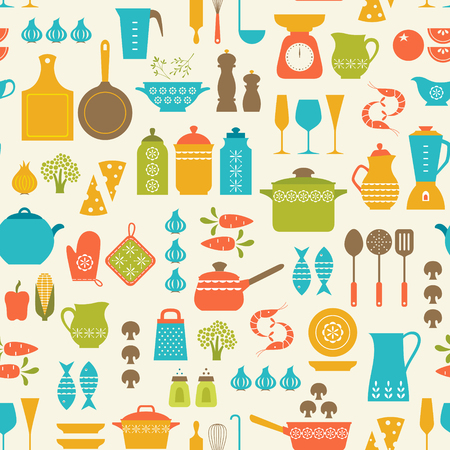 colander: Seamless pattern with kitchen utensils and food.