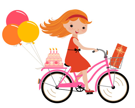 cartoon little girl: Happy girl going to a birthday party.