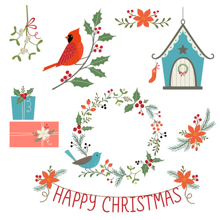 Christmas floral decoration, gifts, bird house and birds.