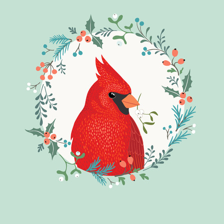 Christmas greeting card with Cardinal bird, wreath and place for your text. Vector