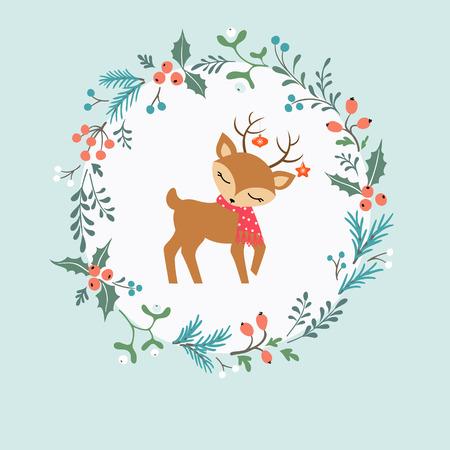 muerdago: Tarjeta de Navidad con la guirnalda decorativa, ciervos lindos y lugar para el texto.