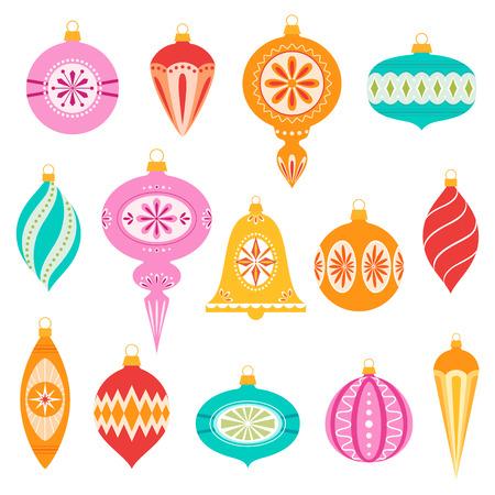 Conjunto de retro adornos de Navidad. Ilustración de vector