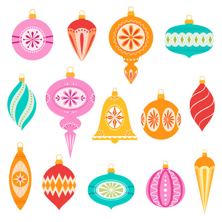Set van retro kerst ornamenten. Stock Illustratie