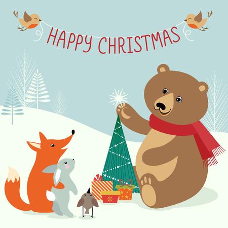 Leuke scène in het bos van Kerstmis. Stockfoto - 33021426