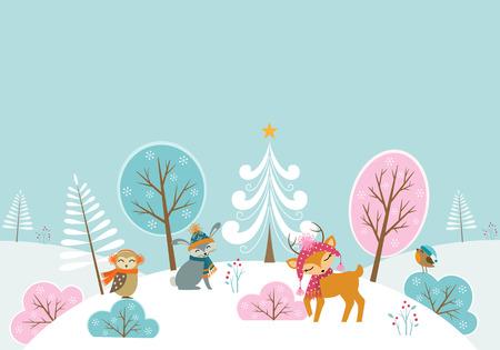 cartoon deer: Christmas woodland background with cute animals. Illustration