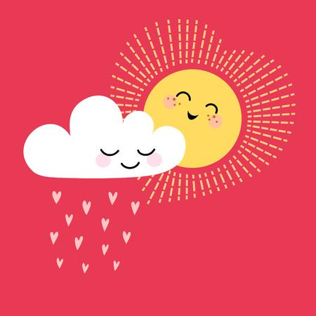 sol caricatura: Tarjeta de San Valent�n linda con el sol, la nube y el lugar para el texto. Vectores