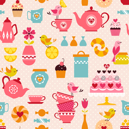 Cute tea time pattern with funny birds. Vectores