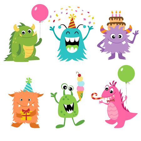 Sada roztomilý monster k narozeninám design. Ilustrace