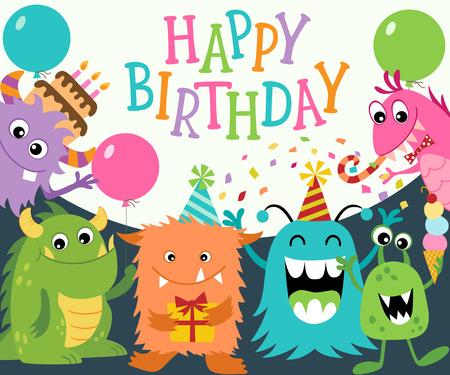 Tarjeta de felicitación de cumpleaños con los monstruos lindos divertidos. Vector se recorta con máscara de recorte.