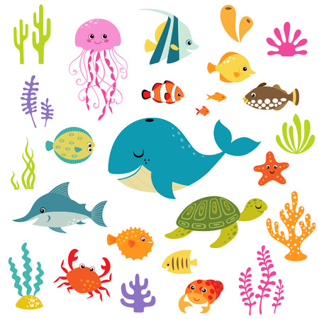flounder: Set of cute cartoon underwater elements for your sea design.