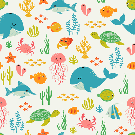 Cute underwater pattern on light background. Stock Illustratie