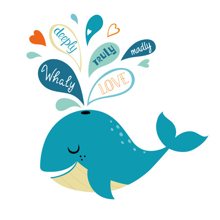 love confession: Cute whale and its love confession.