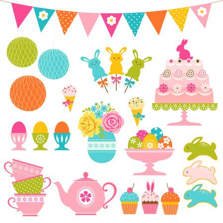Conjunto de dulces de Pascua, huevos de Pascua y decoraciones del partido. Foto de archivo - 36207428