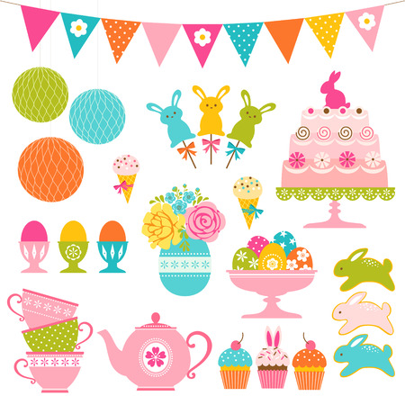Set of Easter sweets, Easter eggs and party  decorations. Vector