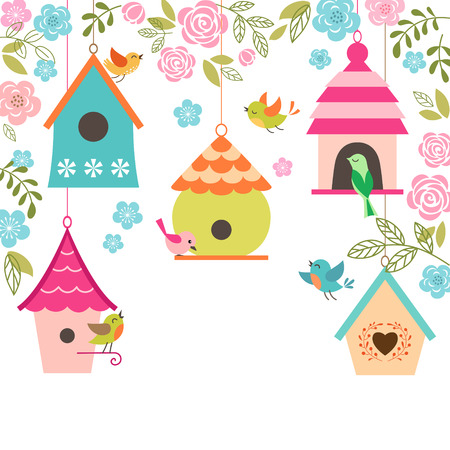 bird illustration: Spring illustration with birds, bird houses, flowers and place for your text.