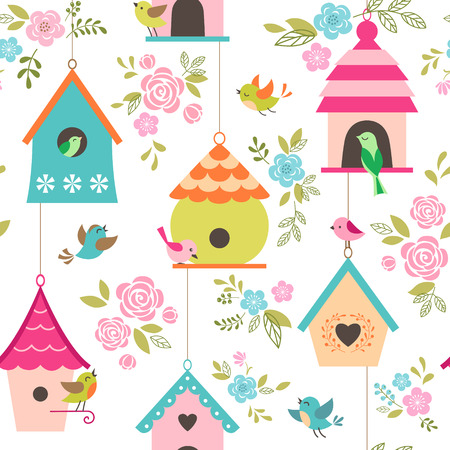 Floral pattern with birds and bird houses.