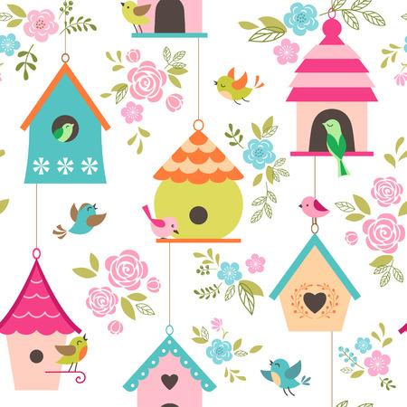 aves caricatura: Modelo floral con los pájaros y las casas del pájaro. Vectores