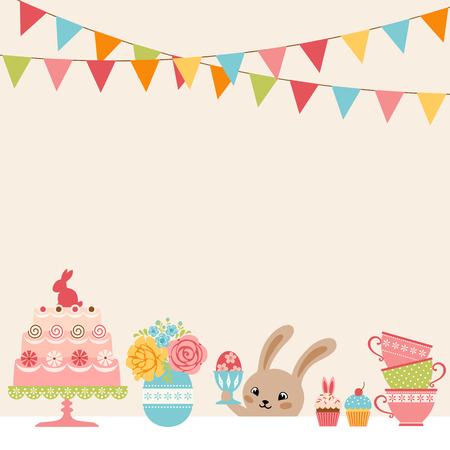 Easter party background with Easter bunny and place for your text. Çizim