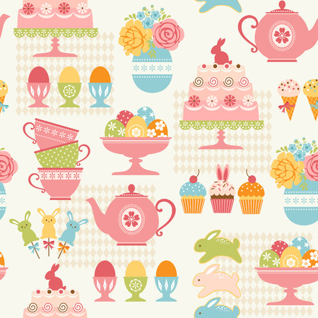 Easter pattern with sweets, Easter eggs and flowers. Vector