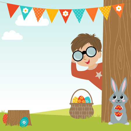 Easter Egg Hunt background with copy space. Vector