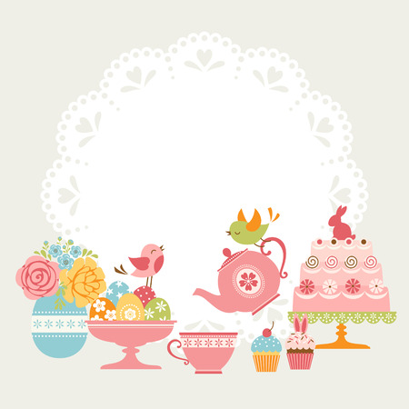 Cute Easter tea party invitation with place for your text. Vector