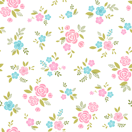Floral pattern with pink and blue flowers on white background. Illustration