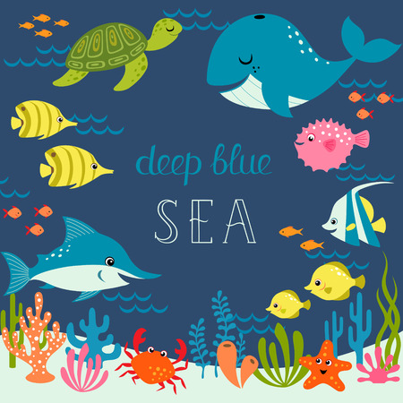 colorful fish: Cute sea design with place for your text.