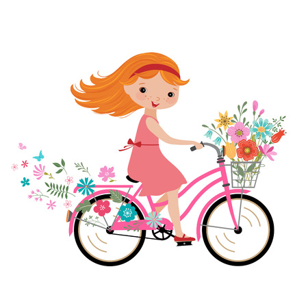 Happy little girl with bunch of flowers riding a bike.