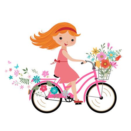 niñas: Niña feliz con el ramo de flores que monta una bicicleta.