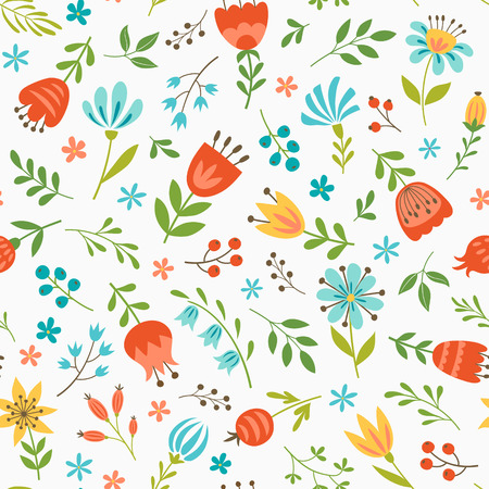 Seamless floral pattern with flowers and berries  on white background.