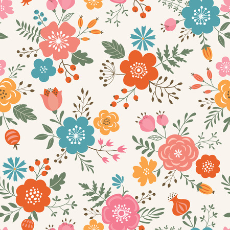 Seamless  decorative colorful flowers pattern on light colored background. Illustration