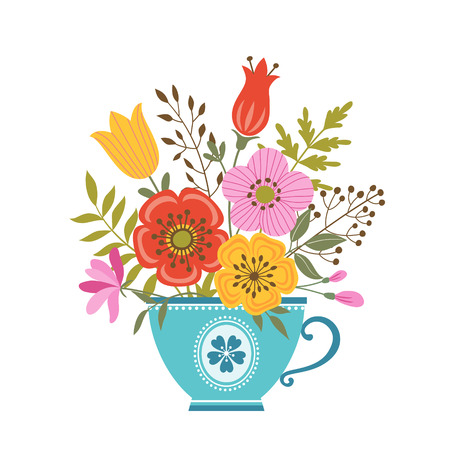 teacup: Bunch of flowers in blue teacup. Illustration