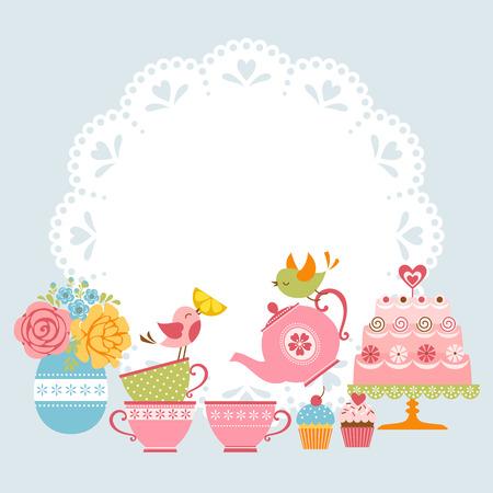 tazza di th�: Tea invito a una festa con gli uccelli carino e luogo per il vostro testo.