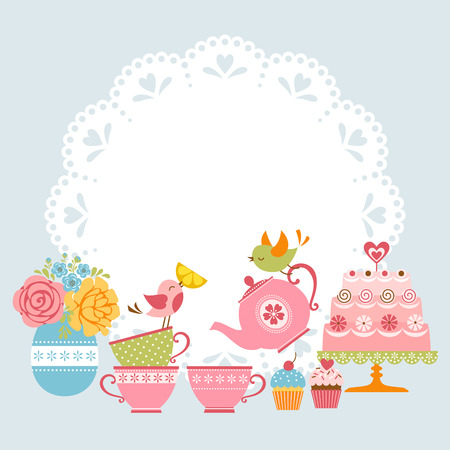 teacup: Tea party invitation with cute birds and place for your text.